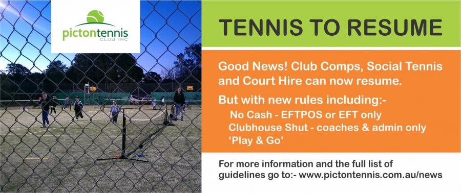 We can play tennis again - Friday 15th May 2020.